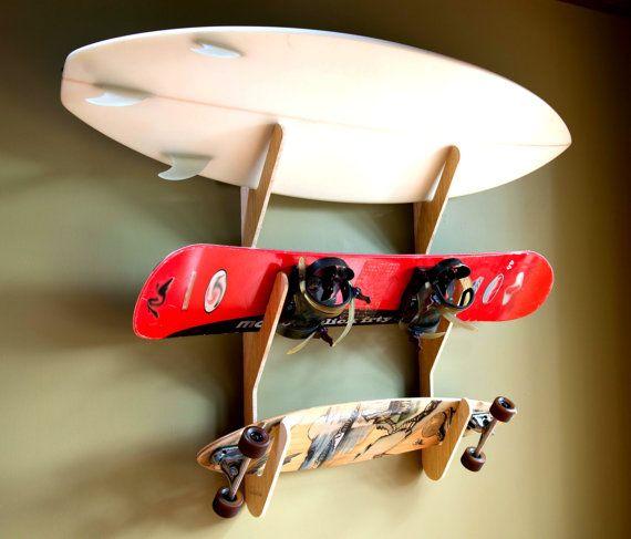 Bamboo Surfboard Snowboard Skateboard Rack - The Triple Rack