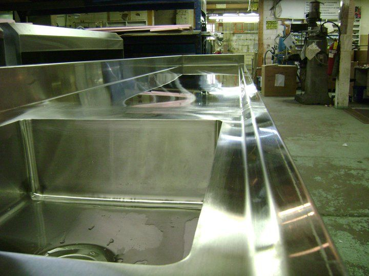 Stainless Steel Countertop with Coved sink and marine edge ready to be shipped out!