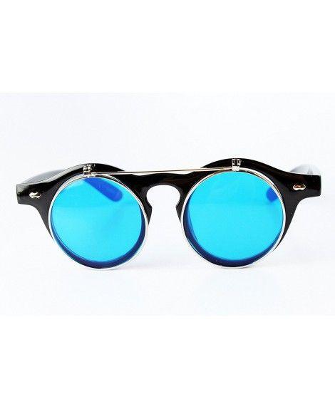 03a79457135 W110-ec Round Wayfarer Flip up steampunk Sunglasses Clear lens ...