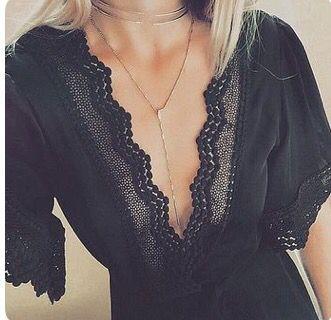 Spring & Summer 2017 Fashion! Stitch Fix - #sponsored #stitchfix black deep v-neck top, lace tunic. sexy but classy top