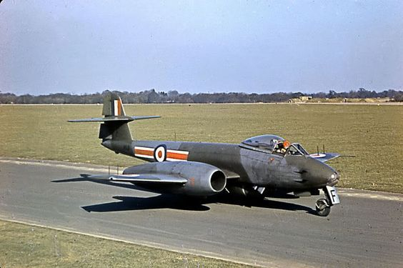 Eyes to the Skies — Gloster Meteor taxiing, 1955