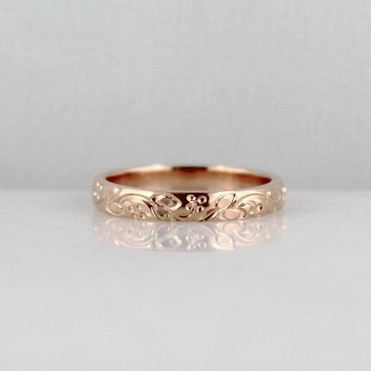 14K Rose Gold Wedding Band - Design Band - Stacking Ring - Pattern Wedding Band - Pink Gold Wedding Band. $595.00, via Etsy.