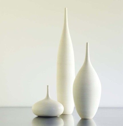 "Large White Modern Ceramic Bottle Vase Trio by Sara Paloma. handmade. tall piece is 16-18"" teardrop piece is 12-13""  rotund piece is 6"" across and 5"" tall.  $430"