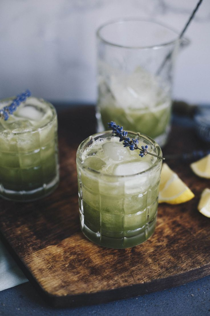 cocktail featuring romeo's gin, cucumber and lavender