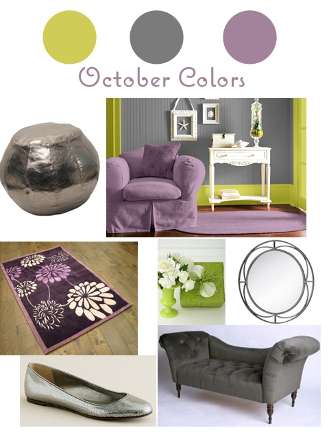 green and purple w/ gray  I was thinking a little darker purple, but these will be the colors of our living room once we get to that part....