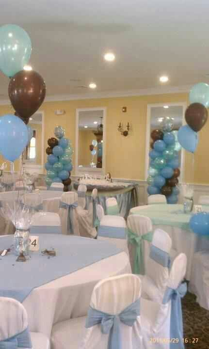 Boy Baby shower idea!!  Nice!! Just white table cloths with blue and some balloons!! We can have Katie sew all the table cloths and bows...LOL