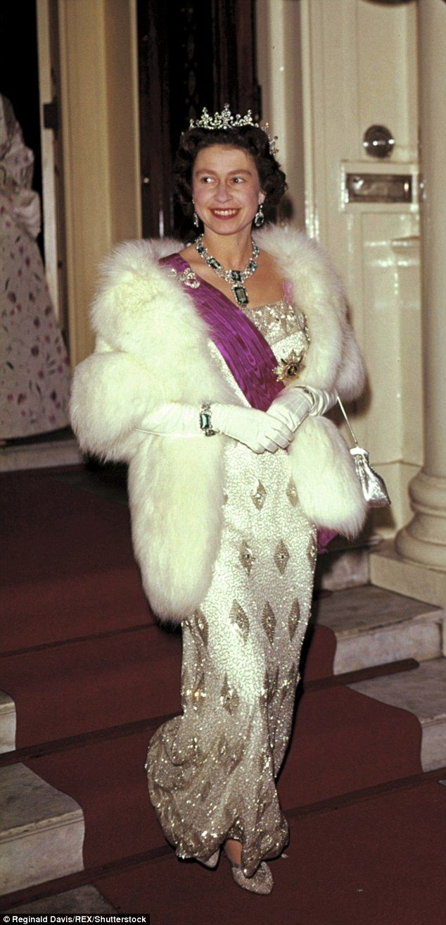 The Queen (pictured leaving the Belgian Embassy in London after a attending a banquet in her honour) dressed to suit this in fairy-tale ballgowns and form-fitting dresses that showed off her hourglass figure