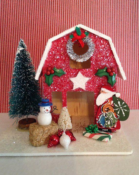 Christmas Decor Christmas Decorations Red Barn Santa Scadinavian Santa Snowman Glitter House Putz House Miniatures Christmas