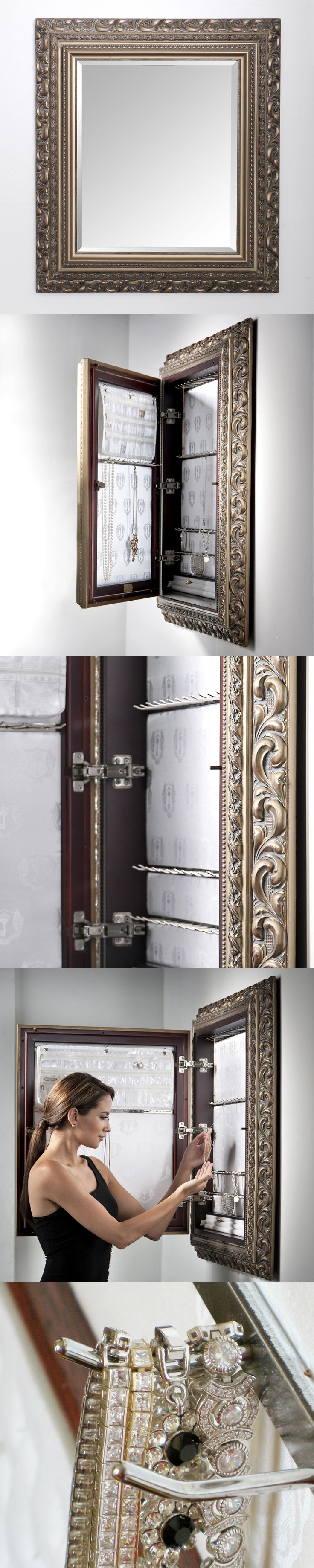 An elegantly smart jewelry organizer.  Love! http://royaldelgoti.com/shop/mount-jewelry-armoire-organizer-mirror/