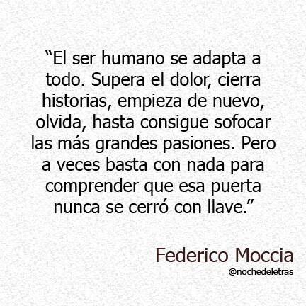 Federico Moccia....hasta cree conseguir sofocar las más grandes pasiones...pero basta con nada para comprender que la puerta que me conduce a vos no está cerrada...