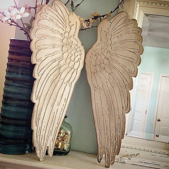 """Wood carved set of angel wings rustic home decor shabby chic angel wings From sizes 6"""" up to 35"""" Choose size in the drop down menus by kygracedesigns on Etsy"""