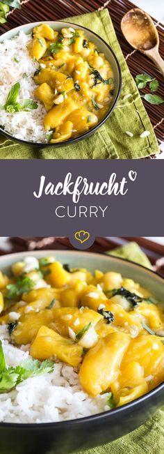 Bei diesem vegetarischen Curry ersetzt die tropische Jackfrucht das Fleisch. Dazu gibt es Basmati Reis. Fruchtiger Geschmack aus der Ferne!