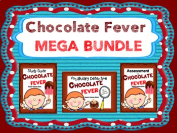 This Mega Bundle includes everything you need to teach the novel, Chocolate Fever, by Robert Kimmel Smith. Excellent for differentiated instruction!Bundle includes:18 page Student Study Guide Comprehension Questions 32 pages Chapter Vocabulary WordsOver 100 Vocabulary Word Cards End of Novel AssessmentAnswer Keys included!