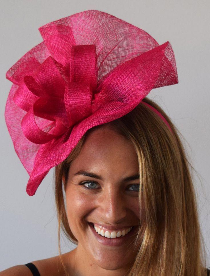 b5cfa432 Tia Large Fuchsia Pink Fascinator, Bright Pink Kentucky Derby Hat, Royal  Wedding Hat, Spring Racing Fashion, Pink Fascinator Hat with Headband, ...