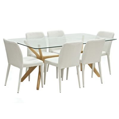 Oak Willow Glass Top Table And 6 Beige Emilio Chairs TableDining TableDebenhamsDining Sets