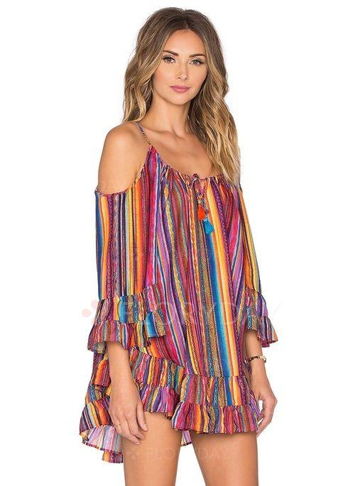 Chiffon Stripe 1010676/1010676 Sleeves Mini Casual Dresses (1010676) @ floryday.com