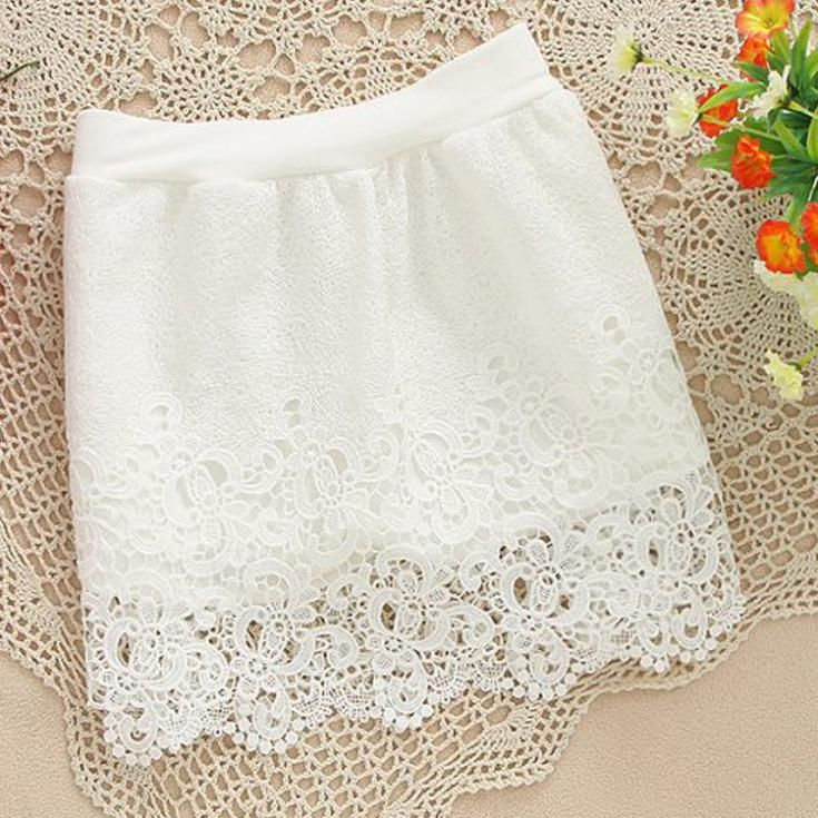 New 2014 Women Vintage Elegant full Crochet Lace Skirt Slim Hook Flower Hollow Elastic High Waist short mini Skirts white black € 5,24