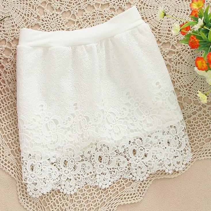 New 2014 Women Vintage Elegant full Crochet Lace Skirt Slim Hook Flower Hollow Elastic High Waist short mini Skirts white black € 5,24