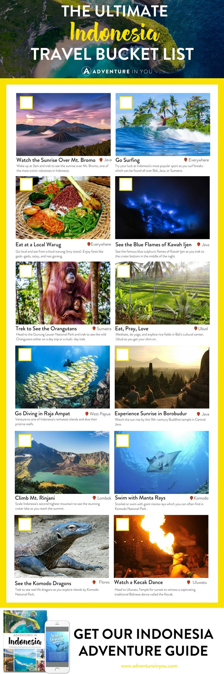 Indonesia Travel   Planning a trip to Indonesia? Here's a list of MUST not miss experience for your Indonesian bucket list