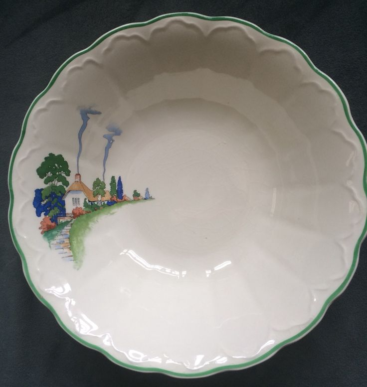 "Harker Countryside bowl with scalloped edge, interior fluting on 9"" bowl."