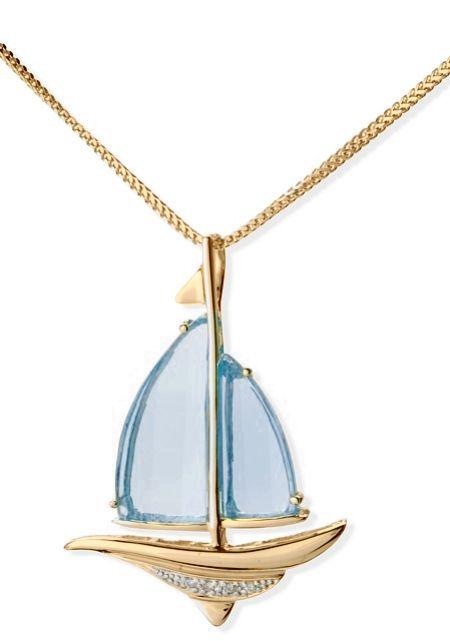 CYBER MONDAY SALE - 14k Gold Blue Topaz and Diamond Sailboat Pendant