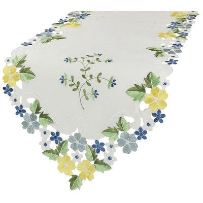 """Xia Home Fashions Fancy Flowers Table Runner Color: Blue, Size: 0.1"""" H x 54"""" W x 15"""" L"""