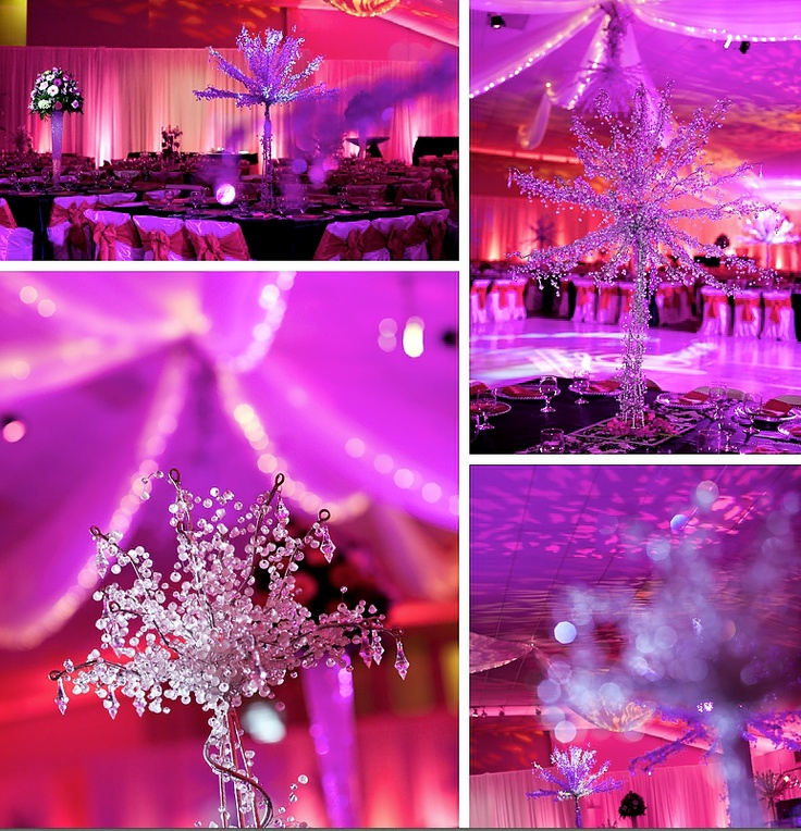 White chiffon draping with ceiling swags lined with twinkle lights, uplift with colored patterned gobos