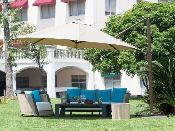 Abba Patio Octagon Cantilever Vented Tilt And Crank Lift Umbrella With Cross Base Sand Beige Aluminum
