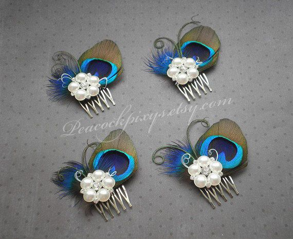 Peacock wedding hair accessories Peacock feather by PeacockPixys, $25.00