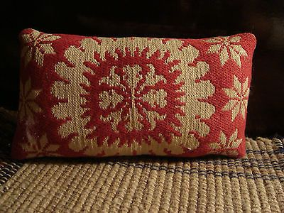 ANTIQUE 1861 RED AND WHITE WOVEN COVERLET PILLOW ~ LANCASTER COUNTY PA