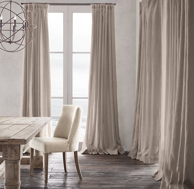 RH's Belgian Heavyweight Textured Linen Drapery:Richly textured and substantial in weight, our linen is masterfully crafted from the world's finest Belgian flax. The fabric is loomed at Libeco-Lagae, the oldest and most venerable mill in Belgium.