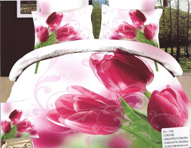 AlyShop: Lenjerie pentru pat dublu din bumbac satinat alb cu lalele ciclam