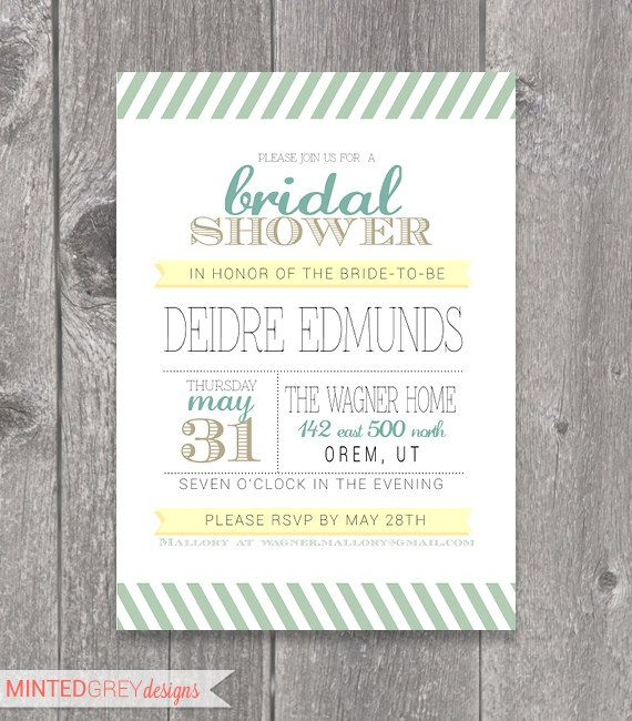 Mint Green Gold & Yellow Bridal Shower by MintedGreyDesigns, $10.00
