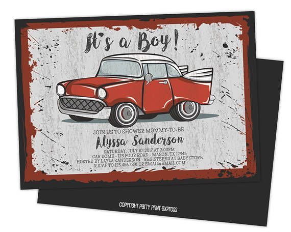 Get the red vintage car baby shower invitations you've been looking for, for your its a boy retro baby shower, featuring a vintage sign style invitation with a vintage red truck and a faux washed design. 2nd side is printed in matching dark grey as shown. This boy baby shower invitation is professionally printed on both sides on 100lb gloss cover. Additional stock options available here: https://www.etsy.com/listing/237642346 Each invitation is 4x6 or 5x7, produced quickly...
