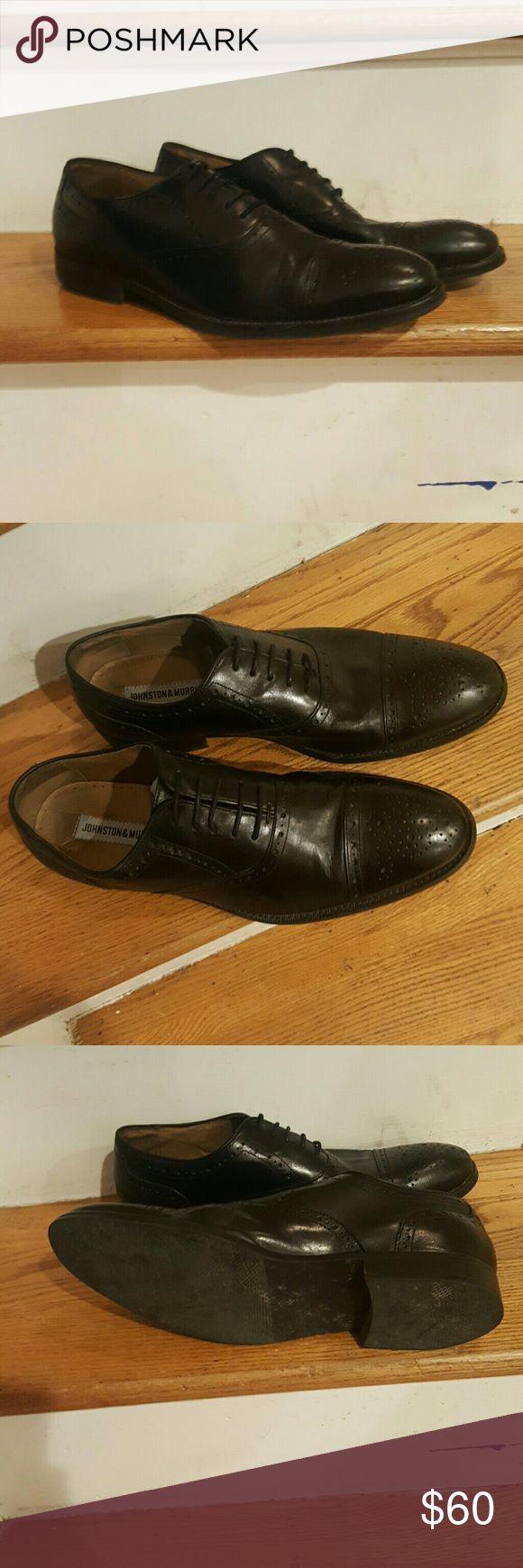 JOHNSTON & MURPHY WINGTIPS BLACK SIZE 10 Awesome black wingtips Mens dress shoes Johnston & Murphy Black leather oxfords Johnston & Murphy Shoes Oxfords & Derbys