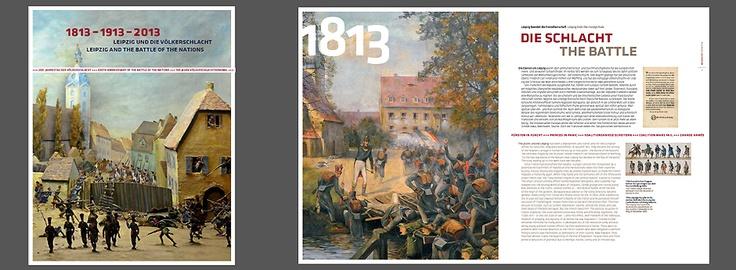"""Titelmotiv und Beispielseite der Sonder-Publikation """"1813–1913–2013. Leipzig und die Völkerschlacht"""""""