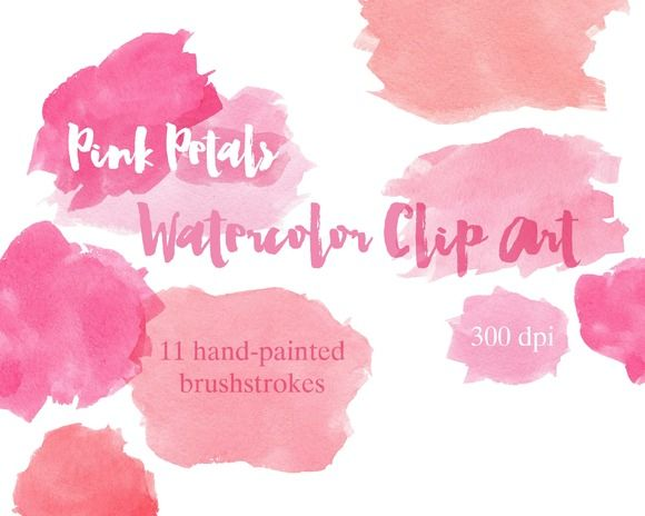 Check out Pink Petals Watercolor Clip Art by the big lake on Creative Market