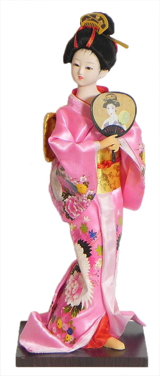 Japanese Geisha Doll in Printed Rose Pink Kimono Dress Holding Fan (Cloth, Clay, Plastic and Thermocol)