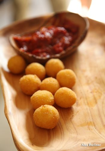 Vegan Hors d'Oeuvres. Polenta balls with marinara.