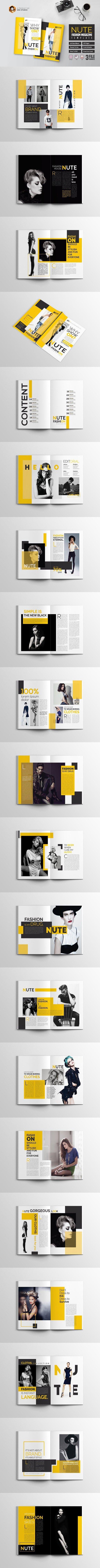 Business infographic : Nute Fashion Magazine Template. Magazine Templates