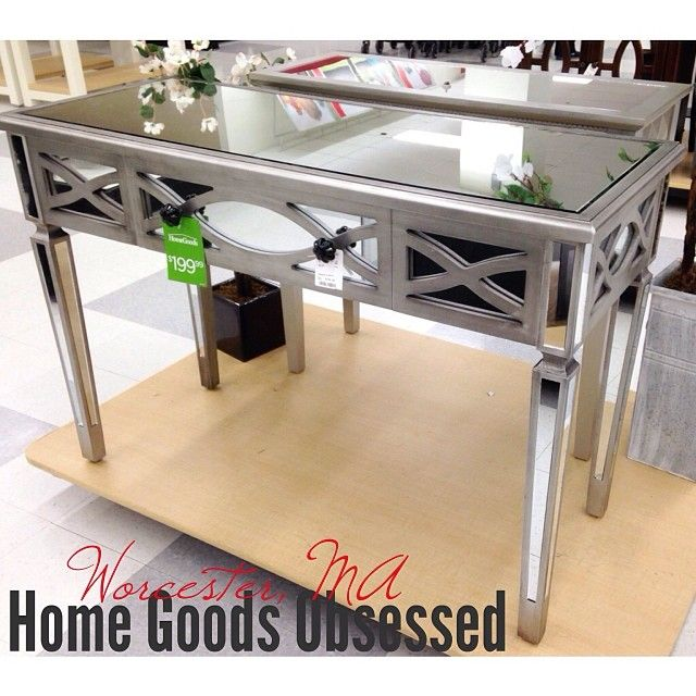 Art Deco Inspired Mirrored Desk Console, Home Goods Mirrored Side Table