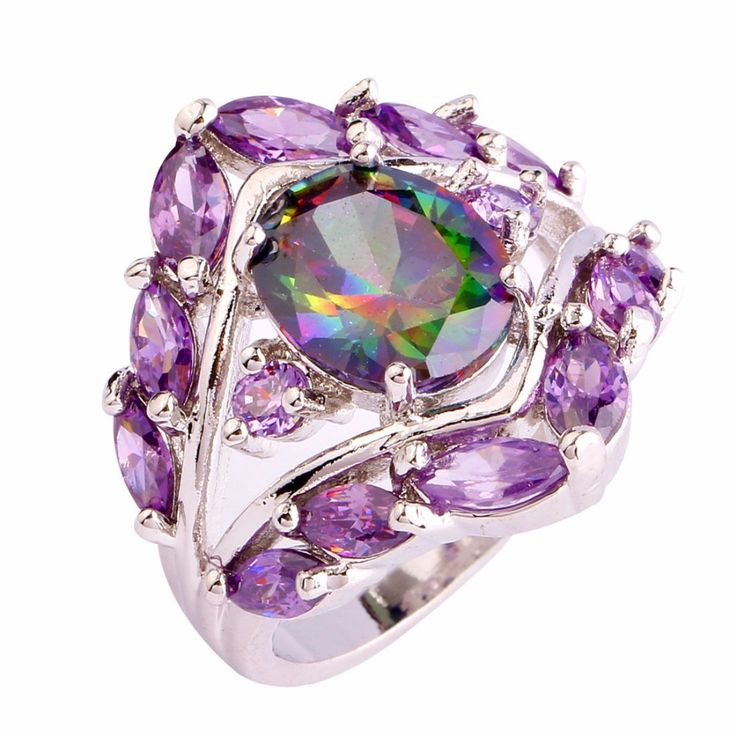 lingmei New Fashion Jewelry Flowe Rainbow Amethyst Citrine 925 Silver Ring Size 6 7 8 9 10 Vogue Simple Gift For Women Wholesale