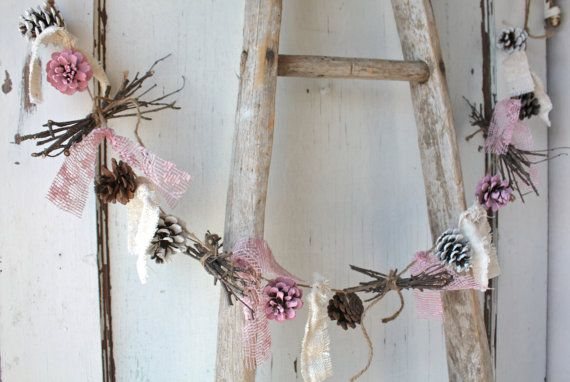 Pinecone Garland/ Pink White Pinecones/ Rustic Holiday Decor/ Christmas Garland/ Vintage Wedding/ Cottage Chic Garland/ Natural Birch Twigs