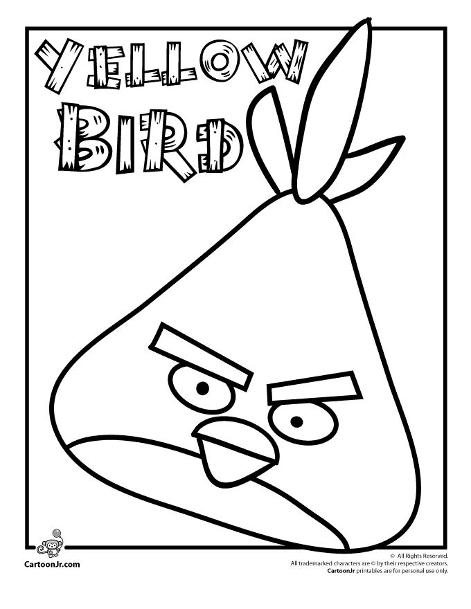 angry birds coloring pages angry birds yellow bird cartoon jr
