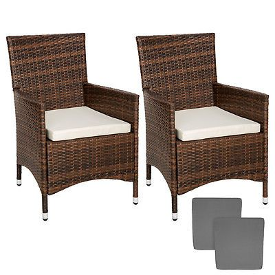 2 x poly rattan garden chairs alu #wicker #outdoor #armchair set + cushions brown,  View more on the LINK: 	http://www.zeppy.io/product/gb/2/271910358772/
