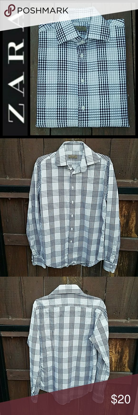 """4th July Sale! Houndstood print by Zara man limited edition in multi colors. In great condition. Outseam fron center approx 28-1/2"""" Shoulder from (seam-to-seam) 18-1/2"""". Zara Shirts Casual Button Down Shirts"""