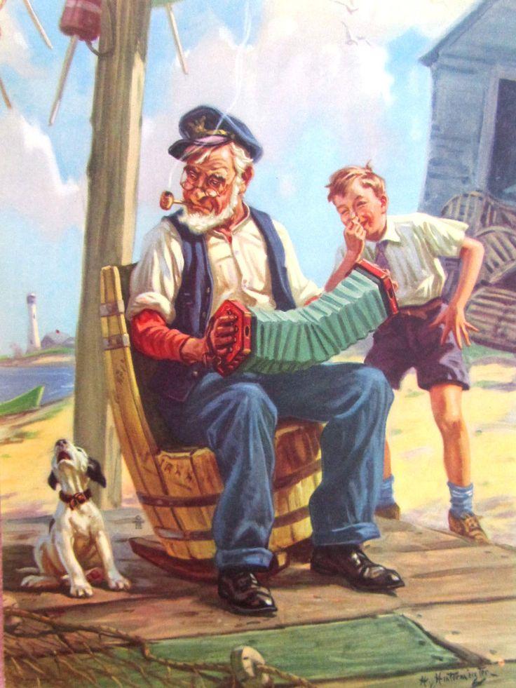 Original HY Hintermeister Calendar Sample Dow Litho Grandpa Accordion Dog Boy   eBay HENRY HINTERMEISTER