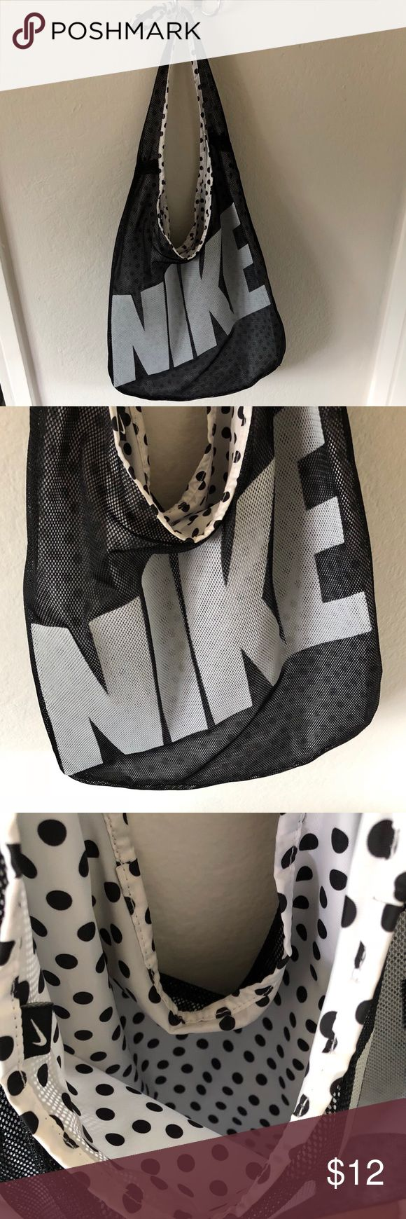 Nike Gym Tote Bag Nike gym shoulder bag tote with netting and black and white polka dot interior. Excellent condition! Nike Bags Totes