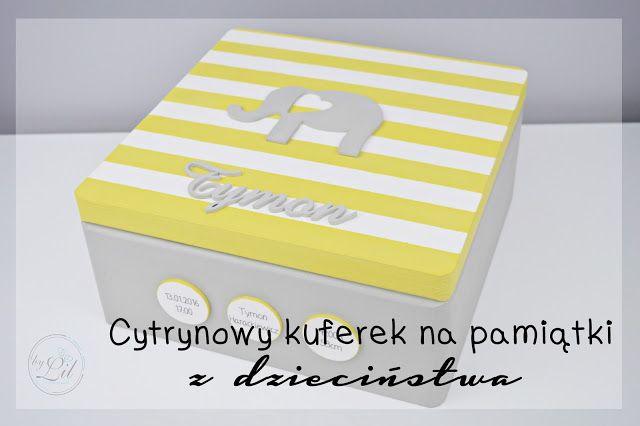 Szaro- żółta skrzynka ze słonikiem na chrzciny dla Tymona