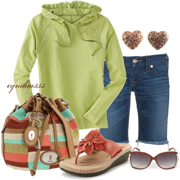"""""""Weekend Wear"""" by cynthia335 on Polyvore: Buckets Bags, Green Hoodie, Weekend Wear, Color, Evening Outfits, Cute Outfits, Cute Casual Outfits, Casual Wear, Denim Shorts"""